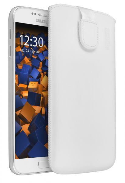 Leder Etui Tasche mit Ausziehlasche weiß für Samsung Galaxy S6 / S6 Duos
