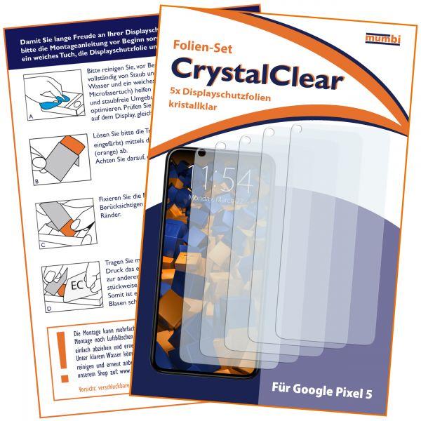 Displayschutzfolie 5 Stck CrystalClear für Google Pixel 5