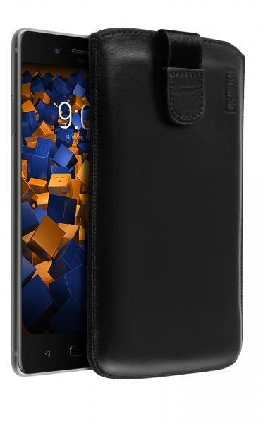 Leder Etui Tasche mit Ausziehlasche schwarz für Nokia 8