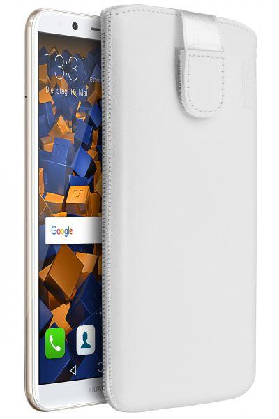 Leder Etui Tasche mit Ausziehlasche weiß für Huawei Mate 10 Lite