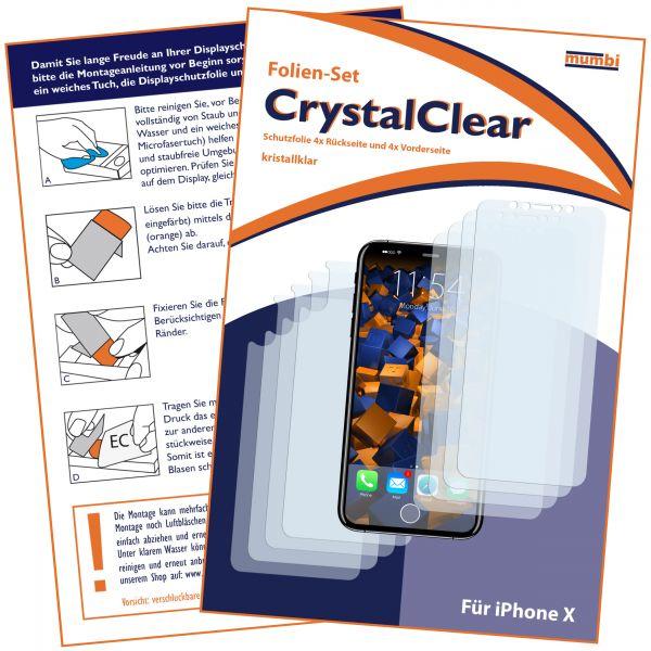 Displayschutzfolie 8 Stck. CrystalClear für Apple iPhone X (4x vorne und 4x hinten)