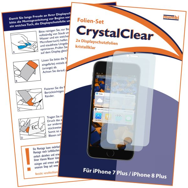 Displayschutzfolie 2 Stck. CrystalClear für Apple iPhone 8 Plus / 7 Plus