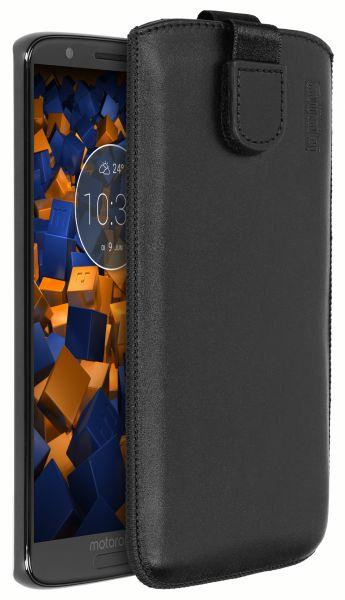 Leder Etui Tasche mit Ausziehlasche schwarz für Motorola Moto G6