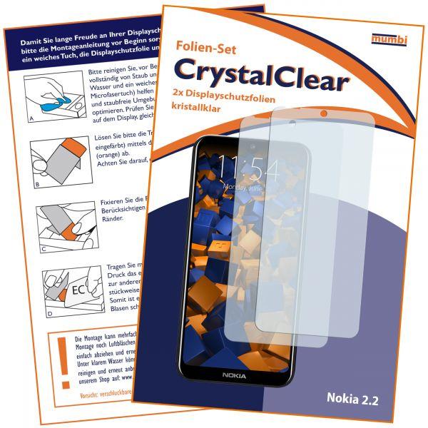 Displayschutzfolie 2 Stck. CrystalClear transparent für Nokia 2.2