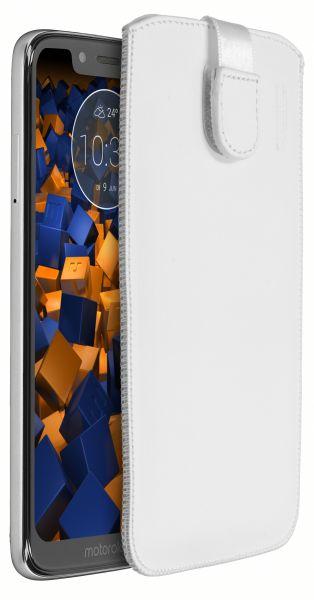Leder Etui Tasche mit Ausziehlasche weiß für Motorola Moto G7 Play