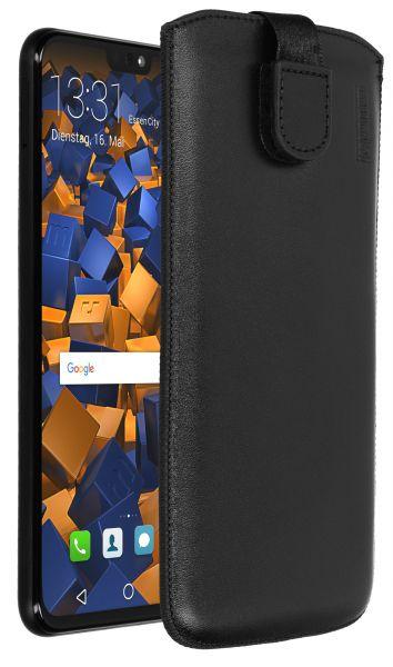 Leder Etui Tasche mit Ausziehlasche schwarz für Huawei Honor 8X