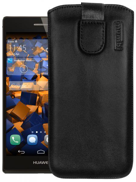 Leder Etui Tasche mit Ausziehlasche schwarz für Huawei Ascend P7