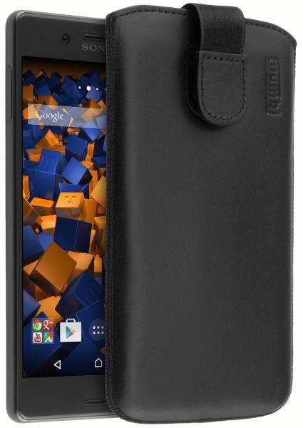 Leder Etui Tasche mit Ausziehlasche schwarz für Sony Xperia X