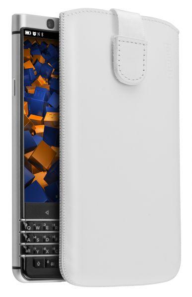 Leder Etui Tasche mit Ausziehlasche weiß für Blackberry KEYone