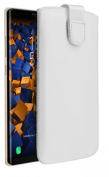 Leder Etui Tasche mit Ausziehlasche weiß für Samsung Galaxy Note8
