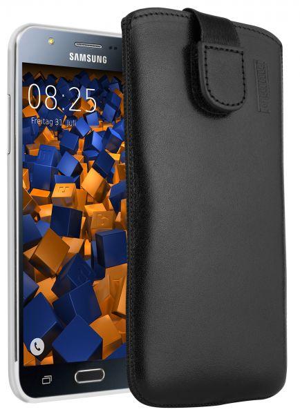 Leder Etui Tasche mit Ausziehlasche schwarz für Samsung Galaxy J5 (2015)