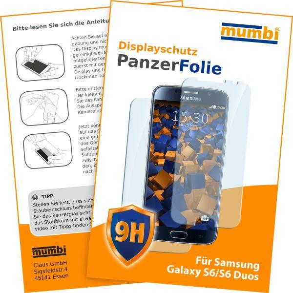 Panzerglasfolie Hartglas 9H 2Stck. für Samsung Galaxy S6 / S6 Duos (Vorder- und Rückseite)