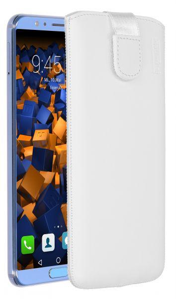 Leder Etui Tasche mit Ausziehlasche weiß für Huawei Honor View 10