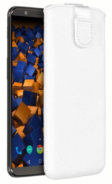 Leder Etui Tasche mit Ausziehlasche weiß für OnePlus 5T