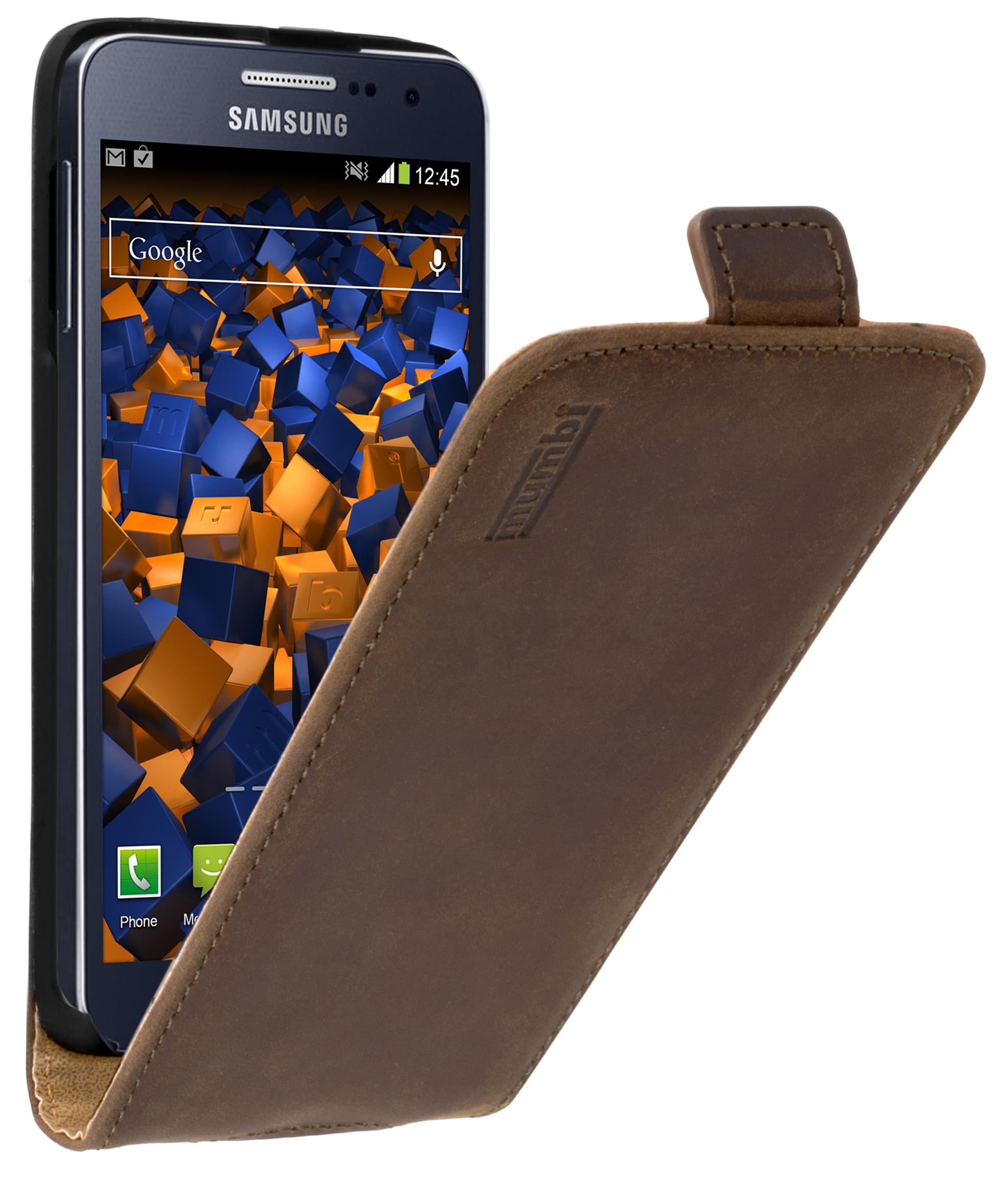 Flip Case Ledertasche braun für Samsung Galaxy A3 2015 Taschen Galaxy A3 2015 Samsung weitere Modelle Weitere Modelle Hersteller