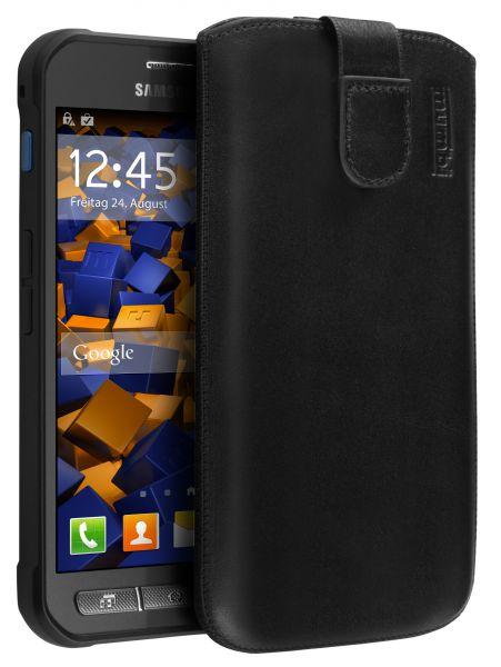 Leder Etui Tasche mit Ausziehlasche schwarz für Samsung Galaxy Xcover 3