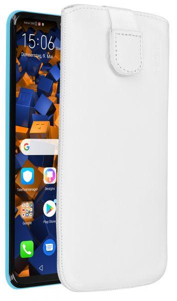 Leder Etui Tasche mit Ausziehlasche weiß für Huawei P30 lite