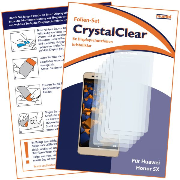 Displayschutzfolie 6 Stck. CrystalClear für Huawei Honor 5X