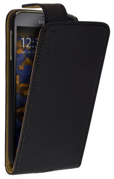 Flip Case Ledertasche mit großer Lasche schwarz für Samsung Galaxy S5 / S5 Neo