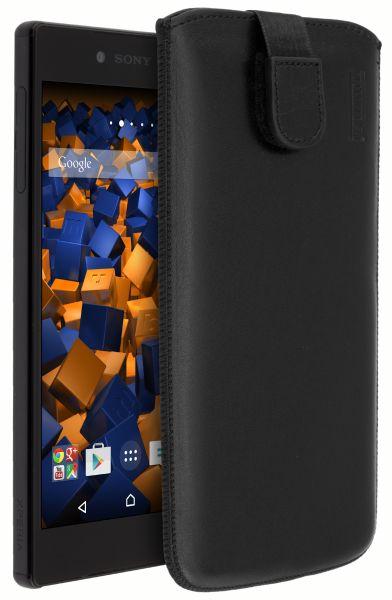 Leder Etui Tasche mit Ausziehlasche schwarz für Sony Xperia Z5 Premium