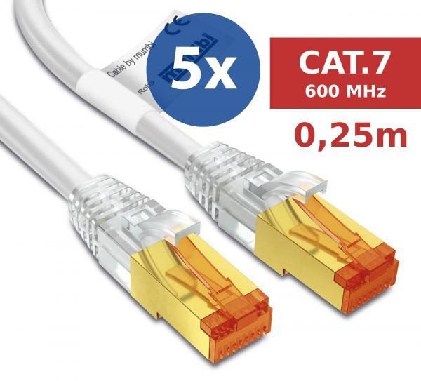 5er Set CAT 7 Rohkabel mit RJ45 Steckern Netzwerkkabel 0,25 Meter Kabel in Weiß