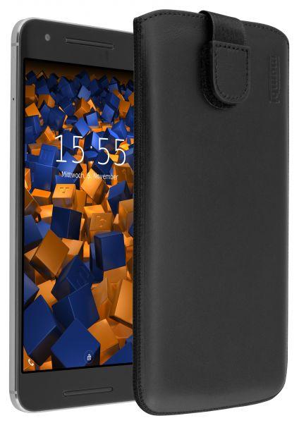 Leder Etui Tasche mit Ausziehlasche schwarz für Huawei Google Nexus 6P