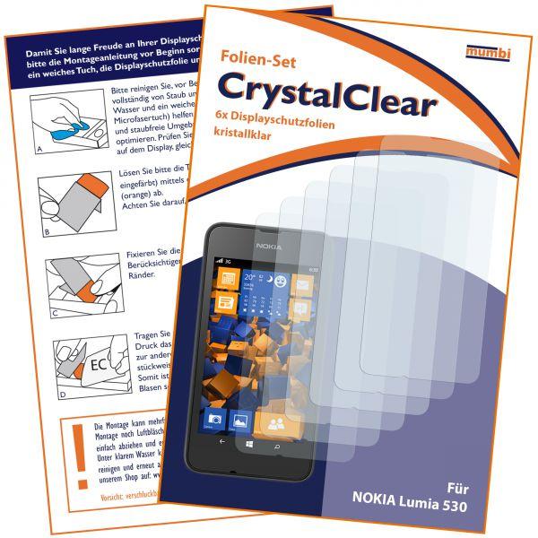 Displayschutzfolie 6 Stck. CrystalClear für Nokia Lumia 530