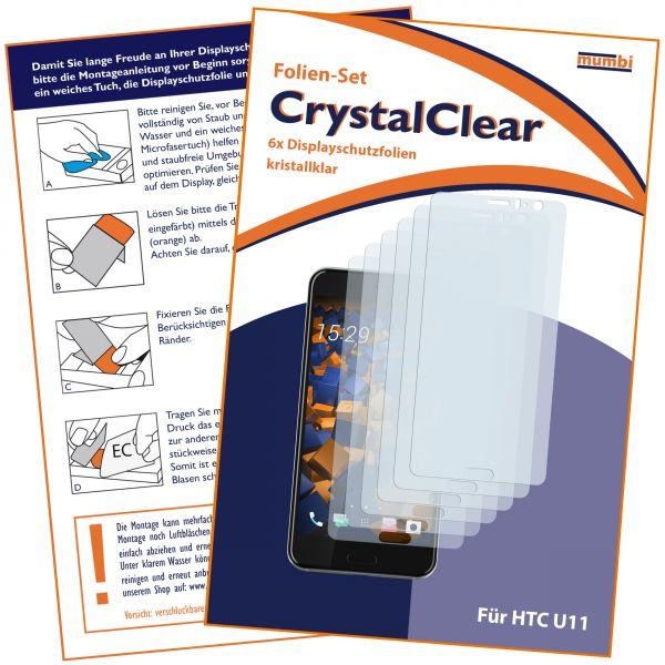 Displayschutzfolie 6 Stck. CrystalClear für HTC U11