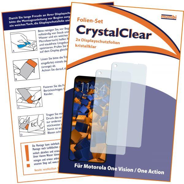 Displayschutzfolie 2 Stck. CrystalClear für Motorola One Vision u. Action