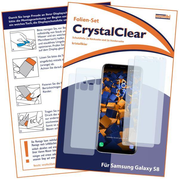 Displayschutzfolie 4 Stck. CrystalClear für Samsung Galaxy S8 (Vorder- und Rückseite)