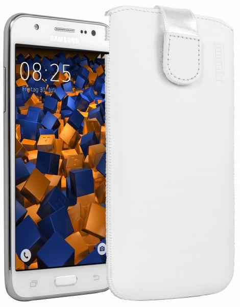 Leder Etui Tasche mit Ausziehlasche weiß für Samsung Galaxy J5 (2015)