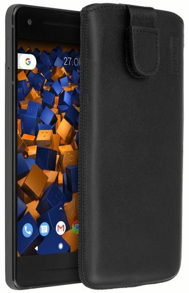 Leder Etui Tasche mit Ausziehlasche schwarz für Google Pixel 2