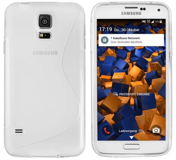 TPU Hülle S-Design transparent weiß für Samsung Galaxy S5 / S5 Neo