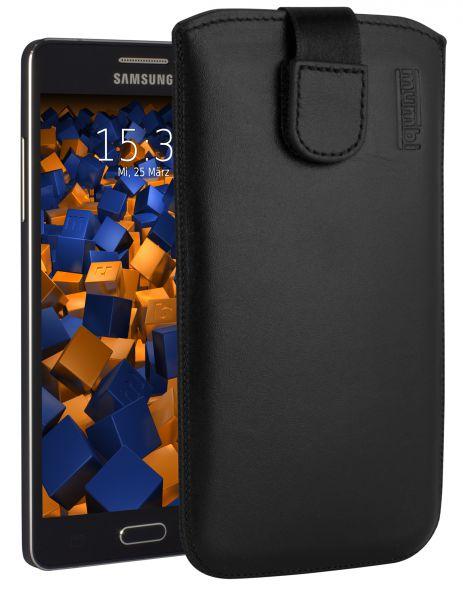 Leder Etui Tasche mit Ausziehlasche schwarz für Samsung Galaxy A5 (2015)