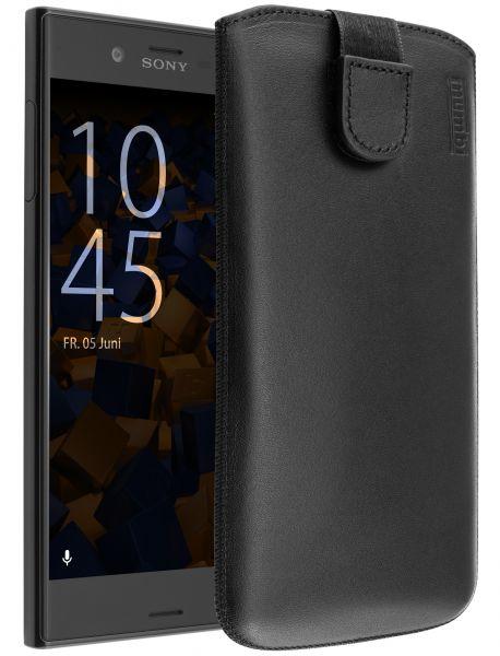 Leder Etui Tasche mit Ausziehlasche schwarz für Sony Xperia XZ und XZs