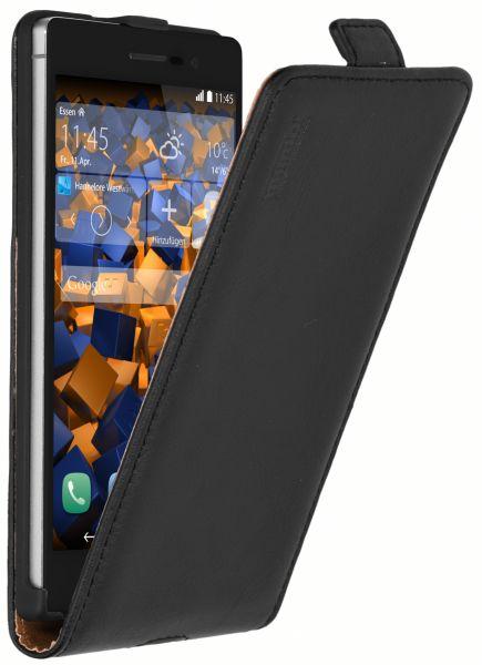 Flip Case Ledertasche schwarz für Huawei Ascend P7