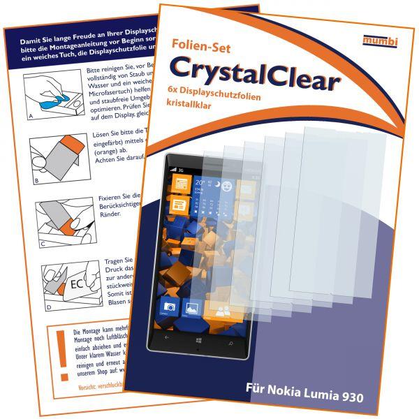 Displayschutzfolie 6 Stck. CrystalClear für Nokia Lumia 930