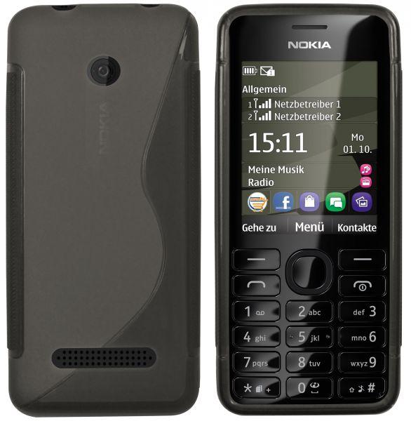 TPU Hülle S-Design schwarz transparent für Nokia Asha 206 / 206 Dual