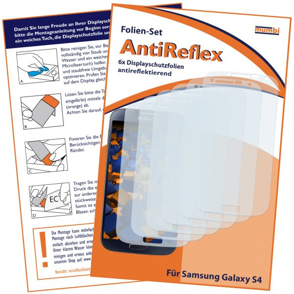 Displayschutzfolie 6 Stck. AntiReflex für Samsung Galaxy S4