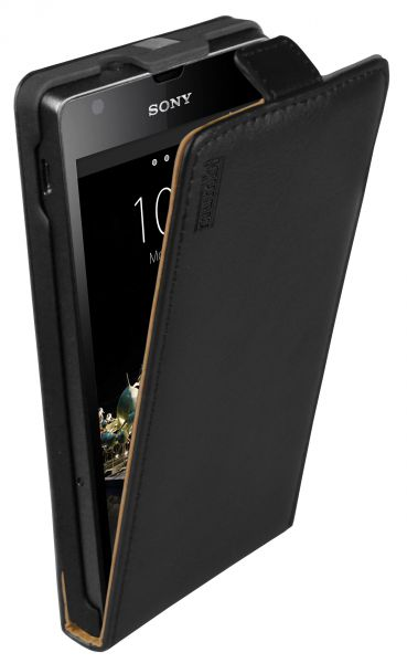 Flip Case Ledertasche schwarz für Sony Xperia SP