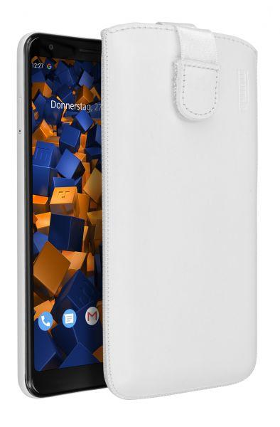 Leder Etui Tasche mit Ausziehlasche weiß für Google Pixel 3a XL