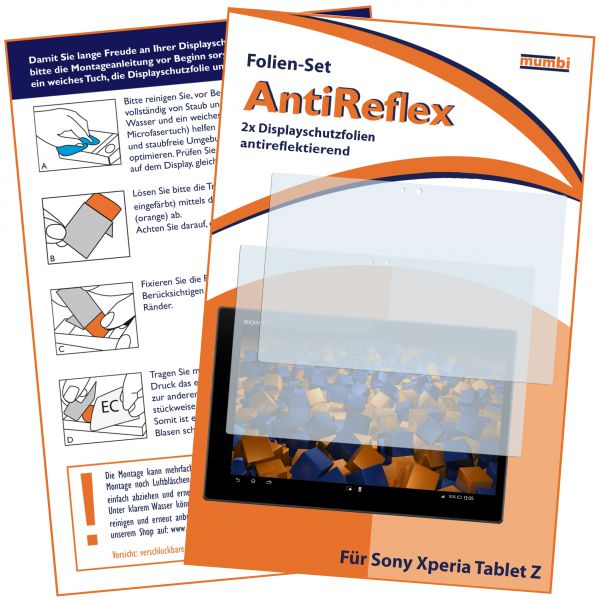 Displayschutzfolie 2 Stck. AntiReflex für Sony Xperia Tablet Z