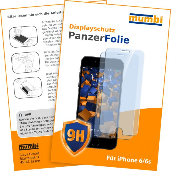 Panzerglasfolie Hartglas 9H 2 Stck. für Apple iPhone 6 / 6s