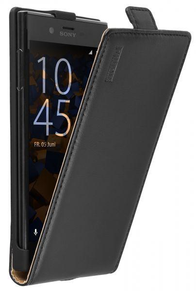 Flip Case Ledertasche schwarz für Sony Xperia XZ und XZs