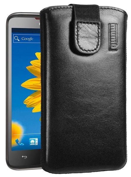 Leder Etui Tasche mit Ausziehlasche schwarz für Huawei Ascend D1 Quad XL