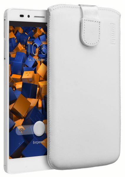 Leder Etui Tasche mit Ausziehlasche weiß für Huawei Honor 5X