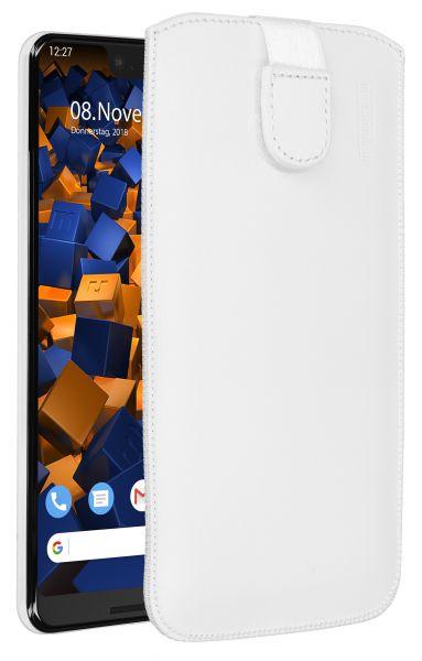 Leder Etui Tasche mit Ausziehlasche weiß für Google Pixel 3 XL