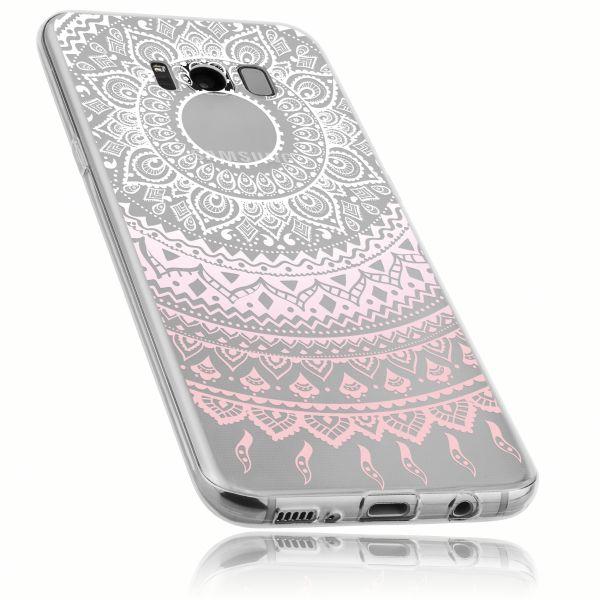 TPU Hülle Ultra Slim transparent weiß rosa Motiv Mandala für Samsung Galaxy S8