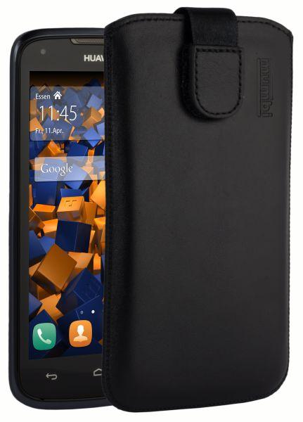 Leder Etui Tasche mit Ausziehlasche schwarz für Huawei Ascend Y520 / Y540