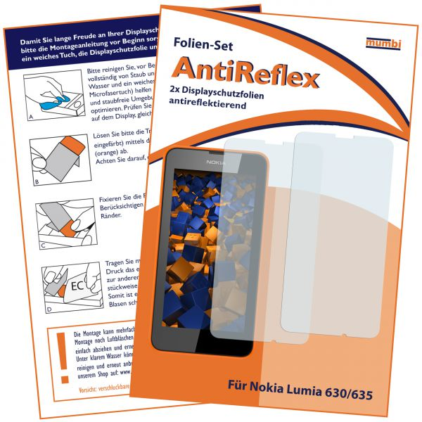 Displayschutzfolie 2 Stck. AntiReflex für Nokia Lumia 630 / 635